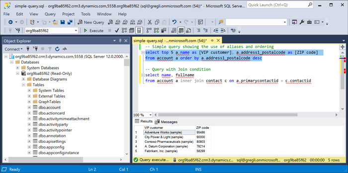 T-SQL endpoint for the Common Data